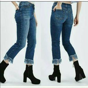 TOPSHOP MOTO Dree Fringe Hem Straight Cropped Jean